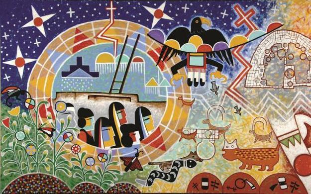 Michael Kabotie and Delbridge Honanie, Journey of the Human Spirit – The Emergence (Panel 1), 2001, Acrylic on canvas, Courtesy of the Museum of Northern Arizona © Gene Balzer