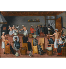Jan van Wechelen, The Legend of the baker of Eeklo, circa 1570-1580, oil on wooden panel, 74 x 103 cm.  Courtesy of Colnaghi
