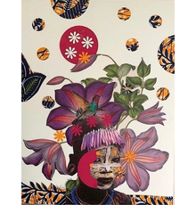 Janet Taylor Pickett, Colors: Exotica Botanica Series, 2020 Collage on gessoed masonite, 16 x 12 x 1.5 in.  Signed lower left recto and verso.  Courtesy of the artist and Baahng Gallery.
