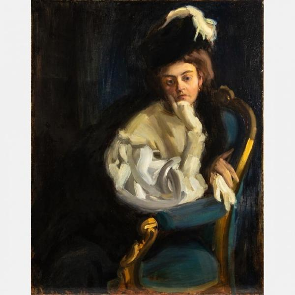 Stunning portrait painting by the Hungarian artist János Vaszary (1867-1939) of his wife Maria, unsigned, one of three painting by Vaszary in the auction (est.  $150,000-$250,000).