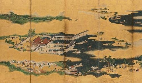"Japanese, "" Views of Itsukushima and Wakanoura,"" Edo period, mid-17th century (Detail).  Ink, color, and gold leaf on paper; pair of six-panel folding screens.  SBMA, Museum Purchase, Peggy and John Maximus Fund."