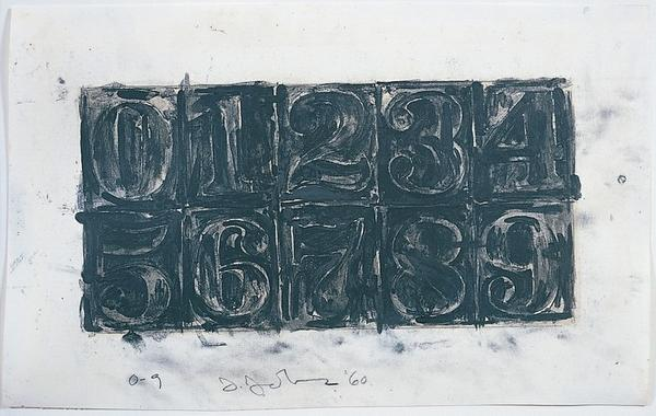 "Jasper Johns, ""0-9,"" 1960; Graphite and wash on paper, 8 x 13 inches"