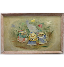 Oil on canvas by Jean Charlot (Hawaii/Calif./Mexico, 1898-1979), depicting three round-faced children in an oval-shaped forested world, signed (estimate: $7,000-$10,000).