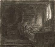 """St.  Jerome in a Dark Chamber"" displays the stunning artistry and emotional depth for which Rembrandt is renowned."