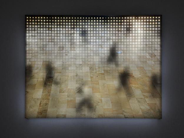Jim Campbell.  Grand Central Station No.2, 2009.  83 x 111 x 4 cm.  Custom Electronics, LEDs, Duratrans.  Courtesy the artist and Bryce Wolkowitz Gallery.