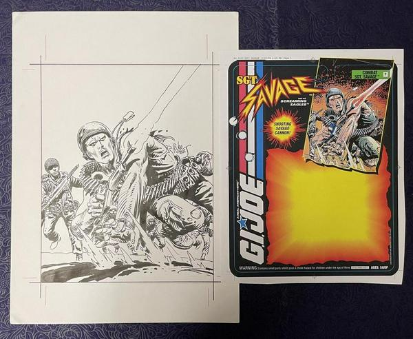 Original comic art from the estate of the legendary illustrator Joe Kubert (1926-2012) was led by toy package art for Hasbro's Sgt.  Savage, including a script and ten originals ($19,200).