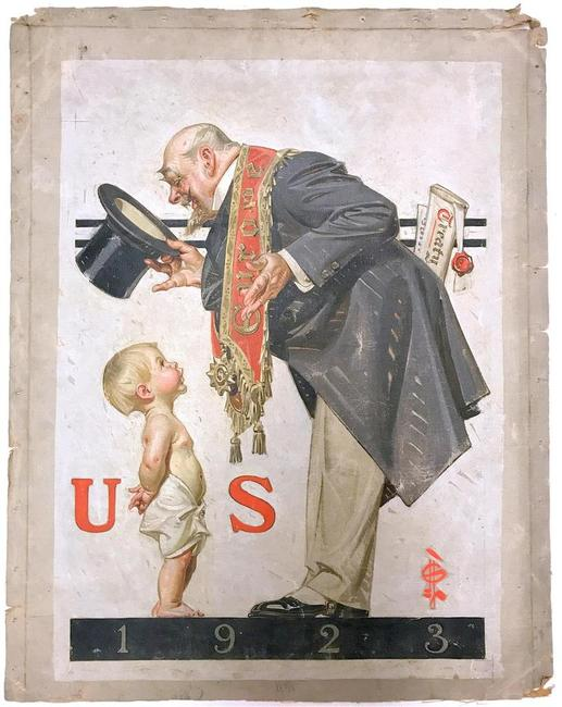Never-before-seen cover painting for The Saturday Evening Post from 1922 by Joseph Leyendecker (Am., 1874-1951), expected to soar to $100,000-$150,000.
