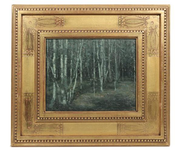 Oil on board titled Stand of Birch Trees by John F.  Carlson (1874/5-1945).