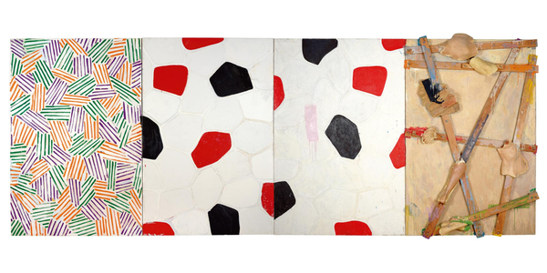 """""""Untitled,"""" 1972, by Jasper Johns.  Oil, encaustic, and collage on canvas with objects (four panels), 72 × 192 1/4 in.  (182.9 × 488.3 cm) overall.  Museum Ludwig, Cologne; donation Ludwig, 1976.  © 2021 Jasper Johns/VAGA at Artists Rights Society (ARS), New York."""