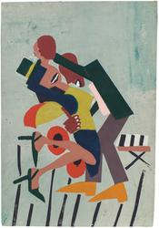 "William H.  Johnson (1901–1970), Jitterbugs (III), c.1941, pochoir with hand additions on paper, 16"" x 11 1/8"""