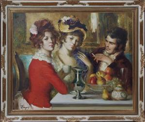 Oil on canvas painting by Spanish modern impressionist Jose Puyet (1922-2004), titled In the Salon, 31 inches by 38 ¾ inches (est.  $1,000-$2,500).