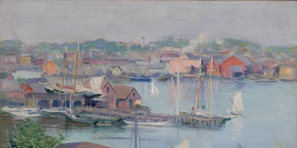 Alice Judson (American, 1869-1948), Summer Day, Gloucester Harbor, c.  1920s, oil on canvas, 20 x 24 inches.  Collection of Thomas Clark
