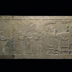 The Banquet Scene; Gypsum wall panel relief fragment, 645BC - 635BC.