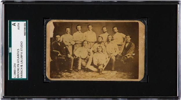 C.  1860 team card of The Brooklyn Atlantics, passed down in the family of player Archibald McMahon, to be sold by Heritage Auctions on July 30, 2015, at the National Sports Collectors Convention in Chicago; earliest team card ever offered at public auction