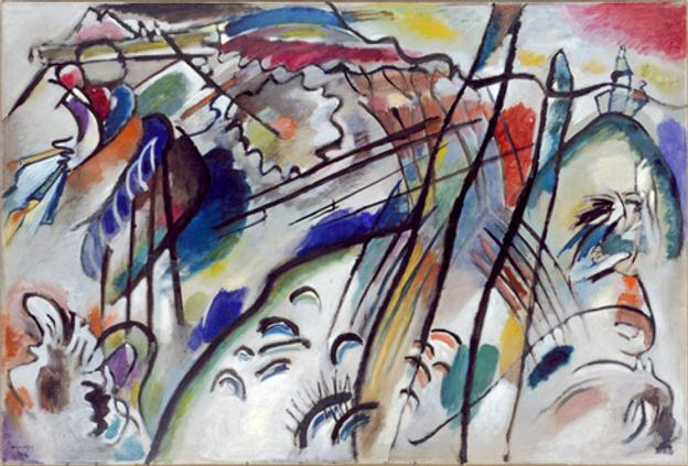 Vasily Kandinsky, Improvisation 28 (second version) (Improvisation 28 [zweite Fassung]), 1912, oil on canvas, 111.4 x 162.1 cm, Solomon R.  Guggenheim Museum, New York, Solomon R.  Guggenheim Founding Collection, by gift 37.239