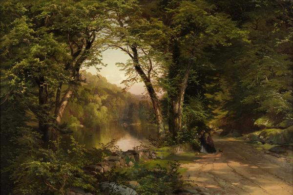 Thomas Moran, (1837-1926) Two Women in the Woods, 1870.  Oil on canvas, 20 x 30 in.  (50.8 x 76.2 cm.) Orton P.  Jackson Fund in memory of Emily Penrose Jackson, 2015.19