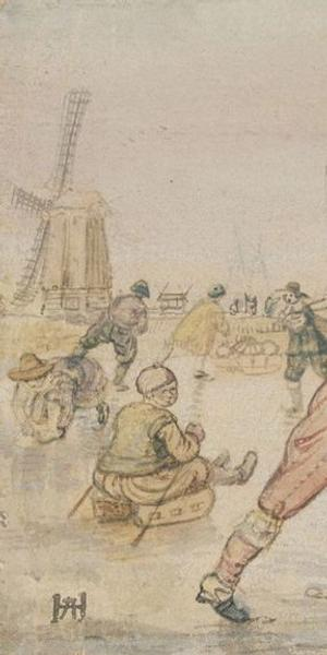 "Hendrick Avercamp's ""A Winter Scene with Two Gentlemen Playing Colf"" is among the works on display in ""Masterful Likeness: Dutch Drawings of the Golden Age"" at the Getty Center.  (The J.  Paul Getty Museum)"