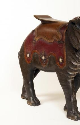Elephant Carousel Figure, attributed to shop of Charles I.  D.  Looff (1852–1918), c.  1882, basswood and paint.  Courtesy of the Barbara L.  Gordon Collection