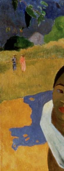 Detail of Paul Gauguin's 1892 oil painting, Nafea Faa Ipoipo (When Will You Marry?, sold for a record price of near $300 million in Feb.  2015.