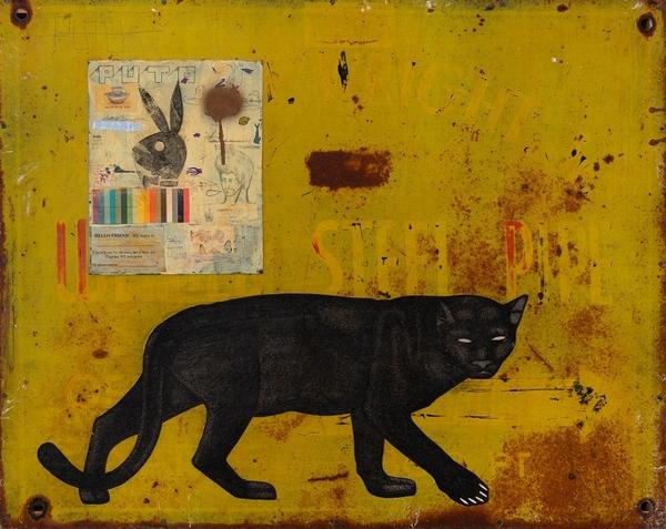 Date Farmers (Armando Lerma, American, born 1975 and Carlos Ramirez, American, born 1967), Panther Yellow, 2008.  Mixed media on metal panel, 24 x 30 inches.  Crocker Art Museum, promised gift of Loren G.  Lipson, M.D.  © Date Farmers