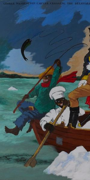 George Washington Carver Crossing the Delaware: Page from an American History Textbook, 1975, Robert Colescott, acrylic on canvas, 84 x 108 in., Private Collection, St.  Louis, © 2017 Estate of Robert Colescott / Artists Rights Society (ARS), New York, Photo: Jean Paul Torno