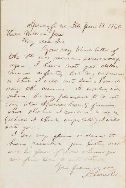Lincoln letter sold at Charlton Hall Auctions for $18,720 (including 17% Buyer's Premium).