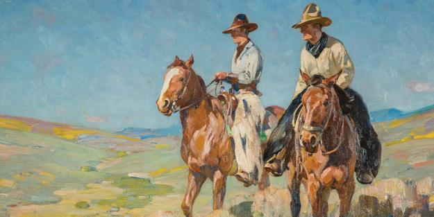 Detail: Carl Rungius, Two Cowboys in the Saddle, 1895-1950.  Oil on canvas, 24 x 31 15/16 in.  Bequest of William N.  Beach.  1960-376.43.  Photography by Andy Duback.