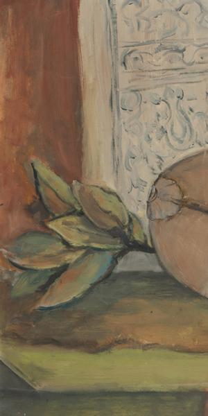 Alma Woodsey Thomas (American, 1891–1978) Still Life with Mandolin, 1950s.  Oil on Masonite, 19 7/8 x 35 1/4 inches.  The Johnson Collection
