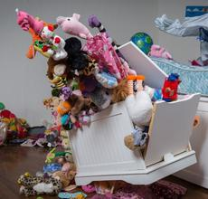 Lynn Dau.  Toy Chest, 2016.  Found objects.
