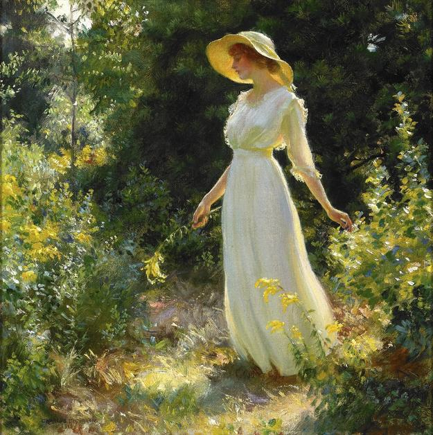 Charles Courtney Curran (American, 1861 – 1942) A Spray of Goldenrod , 1916.  Oil on canvas.  Private collection