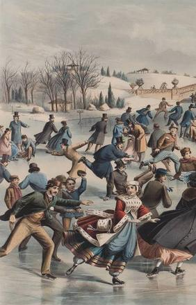 Central Park, Winter: The Skating Pond, Currier & Ives, 1862