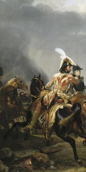 Napoleon reviews the Imperial Guard before the Battle of Jena.