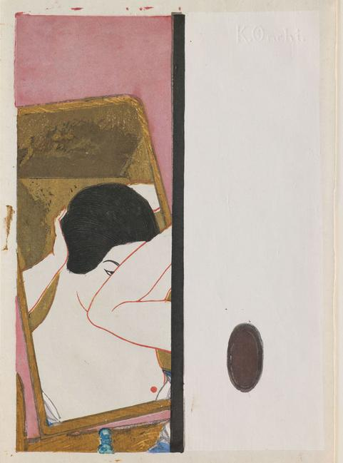 "Onchi Kōshirō; ""Mirror"", c.1930; color woodblock print with mica, gofun, and embossing; Saint Louis Art Museum, The Margaret and Irvin Dagen Fund for Modern and Contemporary Japanese Prints in honor of Steven Owyoung 66:2016"