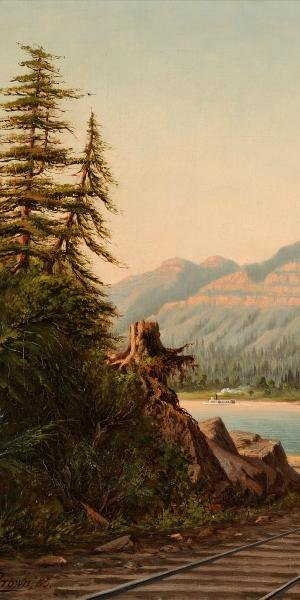 Grafton Tyler Brown, Cascade Cliffs, Columbia River, 1885.  Oil on canvas.  17 x 32 inches.  Courtesy of the Melvin Holmes Collection of African American Art.  Photo © John Wilson White Studio