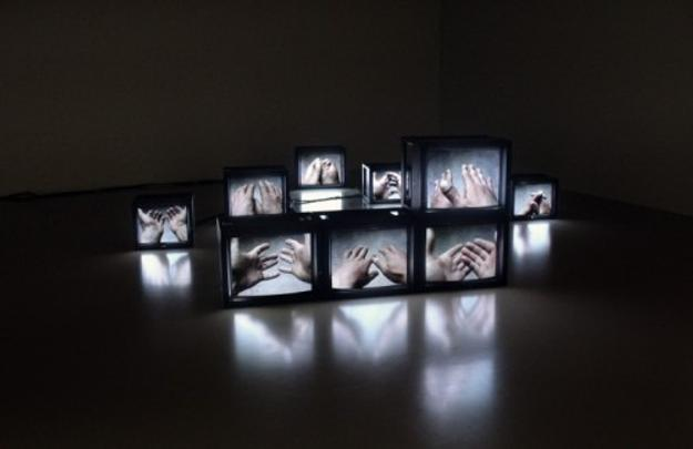 The Hand, 2002 (film still), Melik Ohanian.  9 monitors, 9 videos (4 min 21), sound, text, edition of 3 + 2 AP.  Courtesy of the artist and Galerie Chantal Crousel, Paris, © Melik Ohanian / ADAGP PARIS, 2017.  Philadelphia Museum of Art, Gift of Mari and Peter Shaw, 2016.