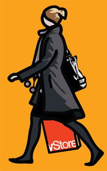 Julian Opie, Woman with shopping bag and scarf., 2012, Vinyl on wooden stretcher, © Julian Opie and Lisson Gallery