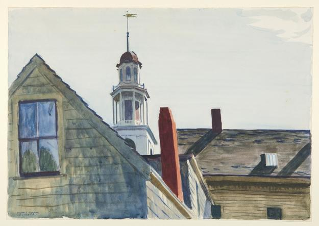 Edward Hopper, Universalist Church, 1926.  Watercolor over graphite on cream wove paper.  Laura P.  Hall Memorial Collection