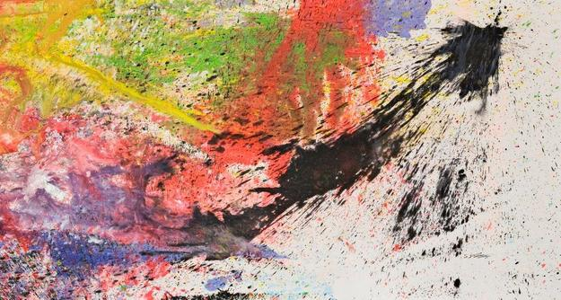 Shozo Shimamoto, Bottle Crash in Venice 14, 2007 Acrylic and broken glass on japanese paper, 190 x 342 cm