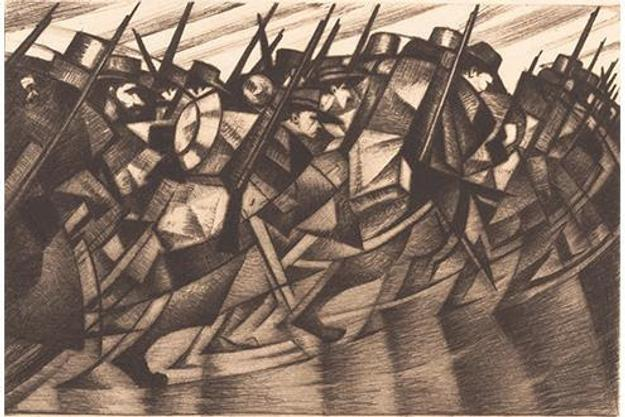 Christopher Richard Wynne Nevinson (British, 1889-1946).  Returning to the Trenches (detail), 1916.  Drypoint, plate: 6 x 8 1/16 in.  (15.2 x 20.4 cm); sheet: 8 3/8 x 11 in.  (21.3 x 28 cm).  The Metropolitan Museum of Art, New York, Rogers Fund, 1968 (68.510.3)