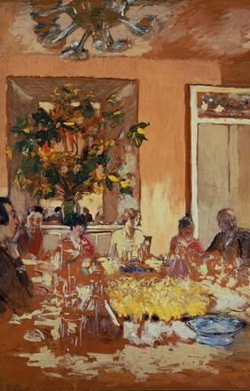 Edouard Vuillard, La salle à manger au château de Clayes, 1935-38.  Tempera and charcoal on paper laid down on canvas.  68 x 53 in