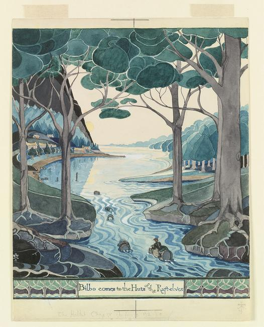 Bilbo comes to the huts of the Raft-elves (MS.  Tolkien Drawings 29, © The Tolkien Estate