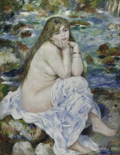 Pierre-Auguste Renoir (French, 1841–1919), Seated Bather, 1914.  Oil on canvas, 31 7/8 x 26 7/8 in.  Art Institute of Chicago.  Mr.  and Mrs.  Lewis Larned Coburn Endowment; through prior bequest of Annie Swan Coburn to the Mr.  and Mrs.  Lewis Larned Coburn Memorial Fund; through prior acquisition of the R.  A.  Waller Fund, 1945.27 Image: The Art Institute of Chicago / Art Resource, New York