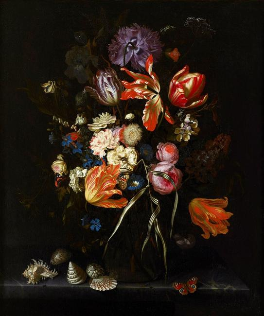 Maria van Oosterwyck (Dutch, 1630–1693), Still Life of Flowers in a Glass Vase, ca.  1685, oil on canvas, 31 ¾ x 26 ¼ inches, Joslyn Art Museum (Omaha, NE), Museum purchase with funds from the Ethel S.  Abbott Art Endowment Fund and the General Art Endowment Fund, 2019.4.  Courtesy of Ben Elwes Fine Art, London.  Photo Credit: Matthew Hollow