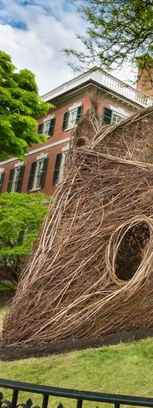 Stickwork installation by Patrick Dougherty on the lawn of PEM's historic Crowninshield-Bentley House, Salem, Mass.