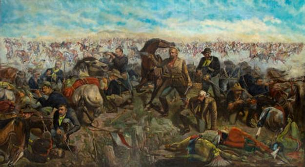 "John Mulvany's massive 11x20 foot oil painting ""Custer's Last Rally,"" completed in 1881 and a Pop Culture phenomenon in its day, prepares for June 10 auction in Dallas."
