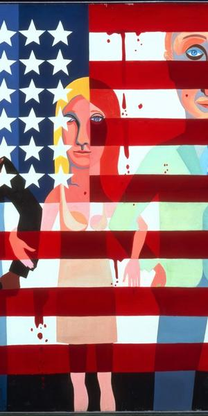 Faith Ringgold (born 1930) American People Series #18, The Flag Is Bleeding, 1967.  Oil on canvas.  72 x 96 in.  (182.9 x 243.8 cm) From the artist's collection.  © 2019 Faith Ringgold / Artists Rights Society (ARS), New York, Courtesy ACA Galleries, New York / Photo courtesy of Faith Ringgold / Art Resource, NY