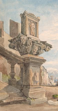 Thomas Hartley Cromek (1809–1873), The Via Sistina and the Palazzo Zuccaro from the Trinità dei Monti.  Gift of the Fellows.  The Morgan Library & Museum.
