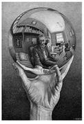 M.  C.  Escher, Hand with Reflecting Sphere (Self-Portrait in Spherical Mirror), 1935, lithograph, 12 1/2 x 8 3/8 in., Collection of Rock J.  Walker, New York, © 2015 The M.  C.  Escher Company, The Netherlands.  All rights reserved.  www.mcescher.com