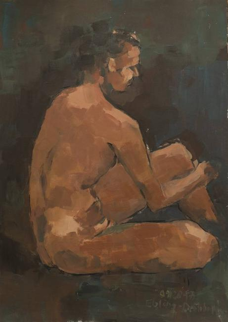 Jutta Ebeling-Dehnhard, Seated Male Nude, Acrylic on Carton Board, 19'' x 13''