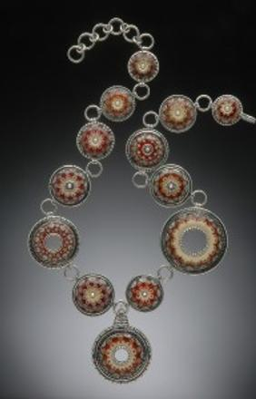 "Kristina Logan, Red Floral Constellation Necklace with pendant.  Flameworked glass, sterling silver, 24"" x 2""."